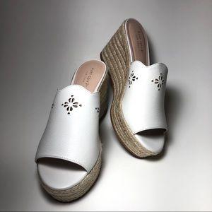 "NWOB Kate Spade White ""TENLEY"" Wedge Shoes, 7.5"